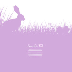 Easter Card Bunny Sitting In The Meadow & Eggs Purple