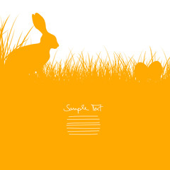 Easter Card Bunny Sitting In The Meadow & Eggs Orange
