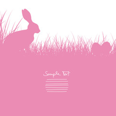 Easter Card Bunny Sitting In The Meadow & Eggs Pink