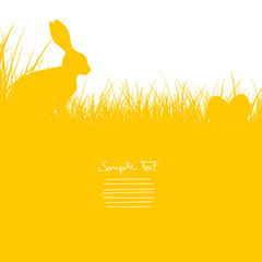 Easter Card Bunny Sitting In The Meadow & Eggs Yellow