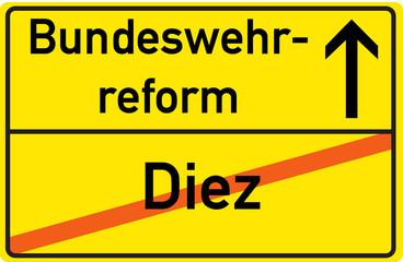 Schild Bundeswehrreform Diez