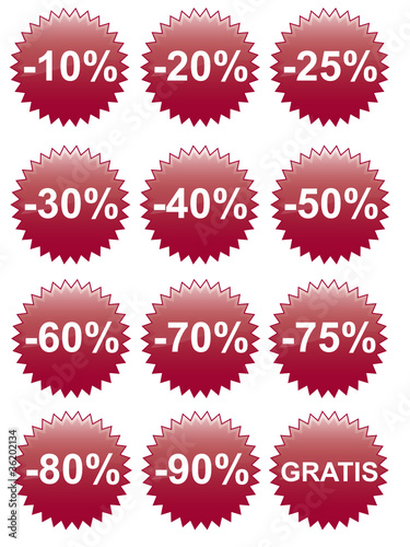Rabatt Button 10 - 90%, Gratis