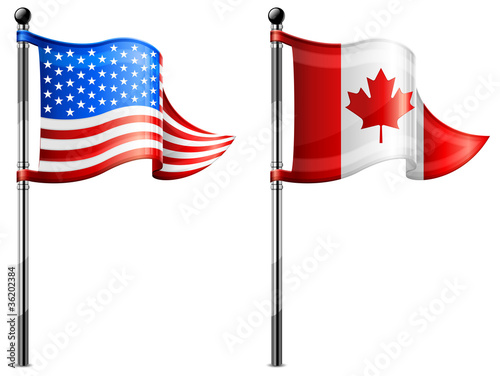 USA & Canada flags