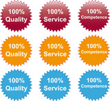 100% Quality Service Competence Button