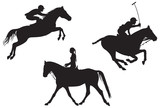 Equestrian sport. vector silhouettes poster