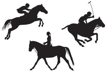 Equestrian sport. vector silhouettes