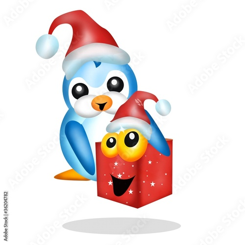 pinguino con regalo