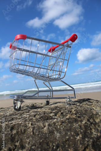 Retail cart in the sea water with sky background