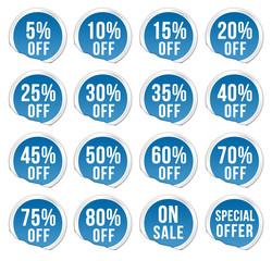 discount labels - blue pack