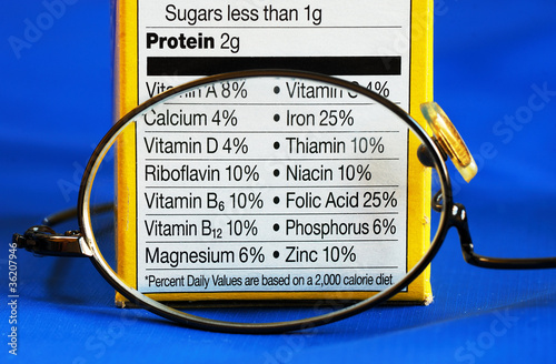 Nutrition facts from a box of food concepts of eat healthy