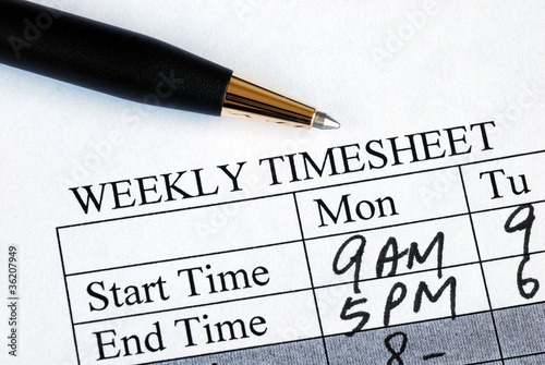Enter the weekly time sheet concepts of work hours reporting
