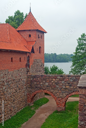 Tower and moat in Trakai castle, Lithuania