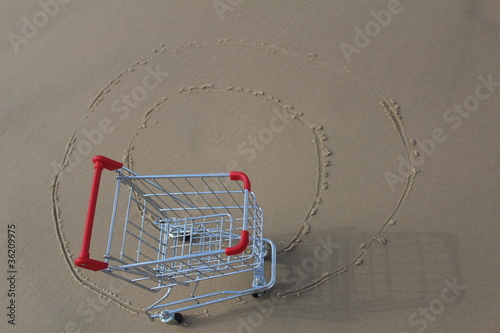 Retail cart going in circles, outdoor