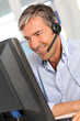 Customer service employee with headphones
