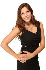 Junge Frau im schwarzen Kleid