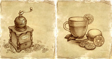 Szklanka herbaty z cytryną i szkic w młynku do kawy