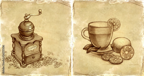 Fototapeta Glass cup of tea with lemon and sketch of coffee grinder