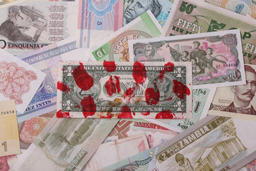 A red heart with 1 Euro cent coins on bills