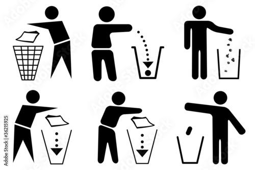 Mülleimer Umwelt sauber halten entsorgen Set