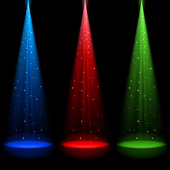 Three conical RGB shafts of light