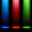 Three RGB shafts of light