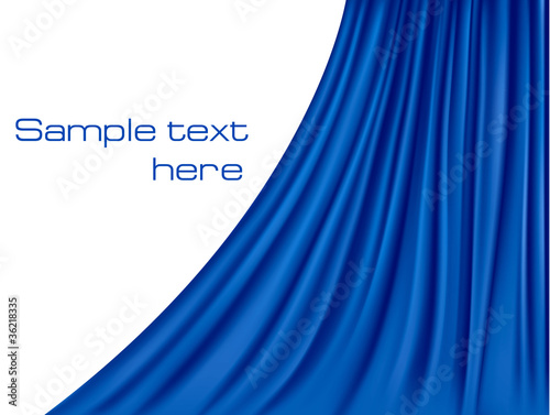Blue curtain background. Vector.