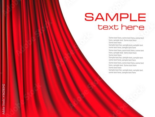 Red curtain background. Vector.