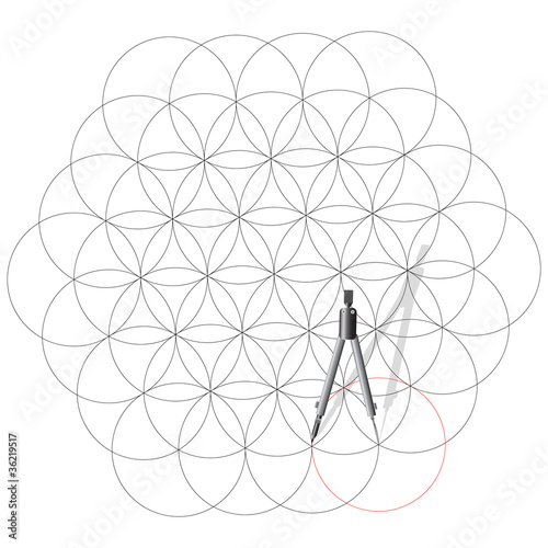 Drawing compass draw a circles.