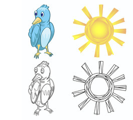 bird and sun with outline