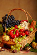 Still life with autumn vegetables and fruits