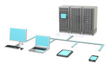 3 Server Racks, Workstation, Laptop, touch pad and smart phone poster