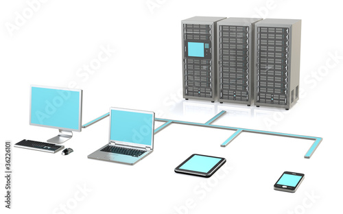 3 Server Racks, Workstation, Laptop, touch pad and smart phone