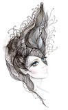 Beautiful woman with ornate hair (series C)