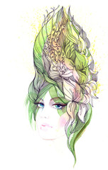 Beautiful woman with hair ornate with flowers (series C)