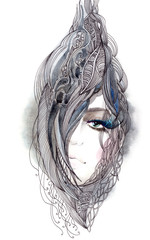 Moman with ornate hair like inside the shell (series C)