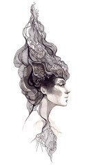beautiful woman with ornate hair