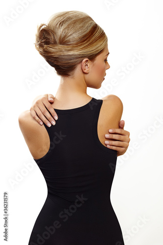 blond woman in sexy black dress
