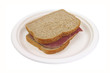 Corned beef sandwich on paper plate