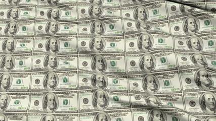 Crumpled Sheet Uncut American Dollar Banknotes