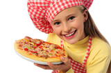 Fototapety Young girl preparing homemade pizza