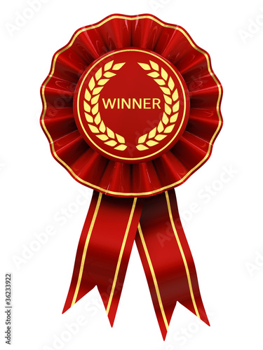 Winner , red and gold rosette , isolated on white