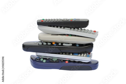 pile of six remote control, isolated on white background