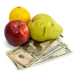 cost of food fruit and money on white