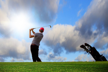 Golfer playing on the idyllic golf course