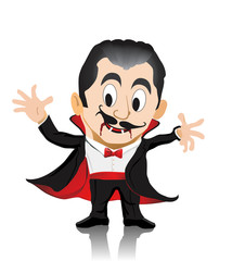 Isolated Dracula open hands to scare and drink blood