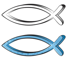 Fish symbol created in sketch and graffiti style