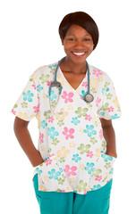 Smiling African American Nurse Posing