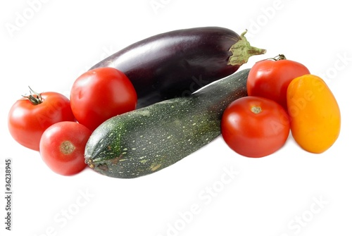 aubergine,zucchini and tomatoes