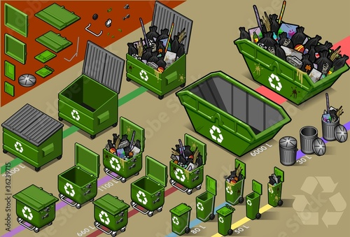 isometric garbage container  in varius sizes