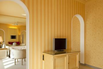 interior luxury apartment, comfortable suite, lounge view